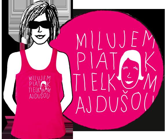Ružové dámske tielko s nápisom milujem piatok tielkom aj dušou a potlačou usmiatej dievčenskej tváre namiesto dvoch písmen o