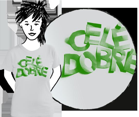 Svetlo sivé dámske tričko s krátkymi rukávmi so zeleným nápisom Celé dobre z bavlny