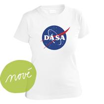 Dievčenské tričko z bavlny s krátmi rukávmi pre každú obdivovateľku Nasa, Space X a Elona Muska s potlačou modrého loga NASA v ktorom je napísané Dá Sa