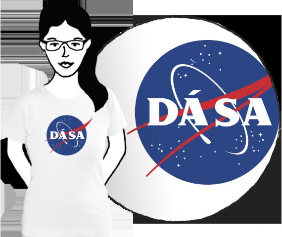 Biele dámske bavlnéne tričko s krátkymi rukávmi pre každú fanúšičku vesmírnych letov s potlačou modrého loga NASA v ktorom je napísané Dá Sa