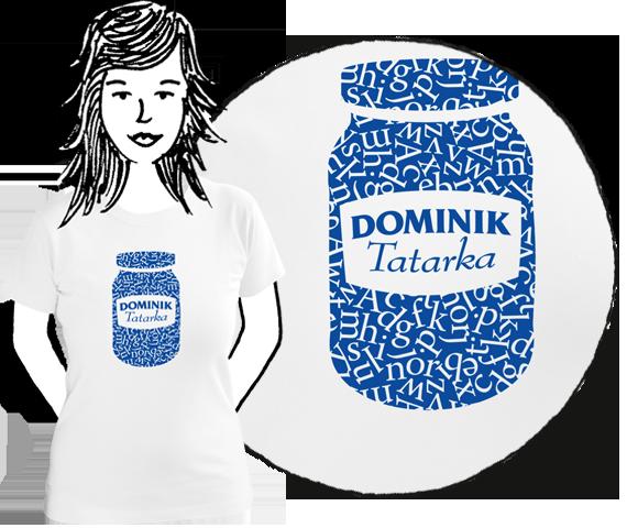Biele dámske bavlnené tričko s krátkymi rukávmi a modrou potlačou pohára tatarskej omáčky plného písmen a nápisom na etikete Dominik Tatarka