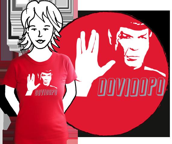 Červené bavlnené dámske tričko s krátkymi rukávmi a potlačou Spocka z filmu Star Trek a nápisom dovi dopo