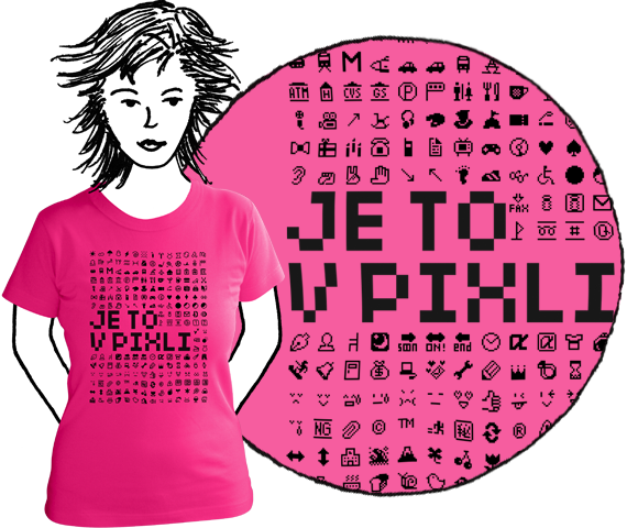 Ružové dámske tričko s krátkymi rukávmi s potlačou čiernych emotikonov v nízkom rozlíšení a nápisom je to v pixli z bavlny