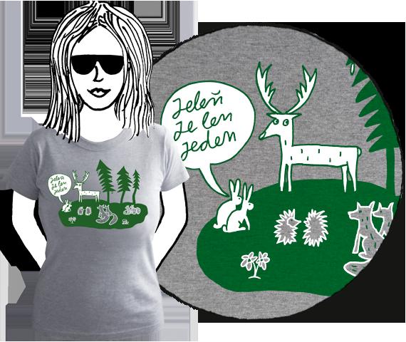 Sivé bavlnené dámske tričko s krátkymi rukávmi a zelenou potlačou lesa s bielymi zvieratami a bublinou nad zajacmi s textom Jeleň je len jeden