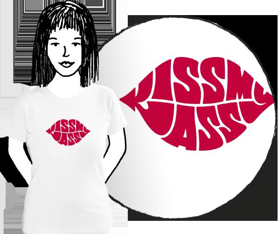 Dámske bavlnené tričko biele s červenou podlačou pier s nápisom kiss my ass pre všetky sebavedomé dievčatá ktore nechcú nechať nič na náhodu