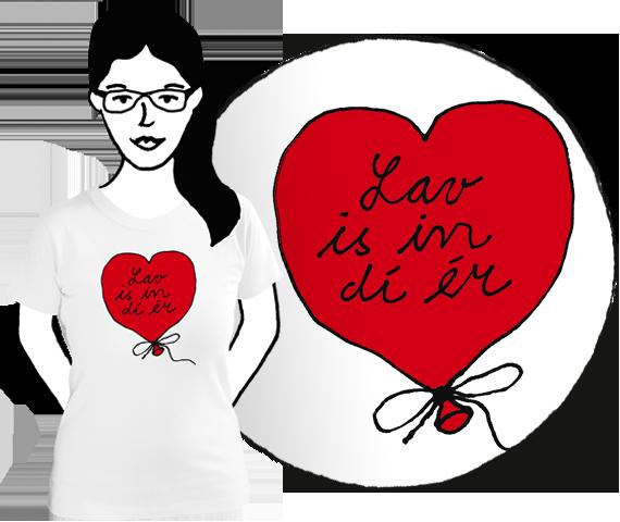 Biele dámske bavlnené tričko s krátkymi rukávmi a červeným balónom v tvare srdca a čiernym nápisom Lav is in dí ér teda Love is in the air