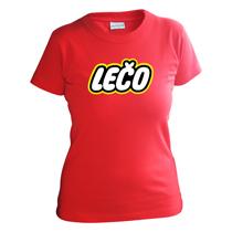 Bavlnené dievčenské tričko červené s krátkymi rukávmi s nápisom Lečo napodobujúce logo výrobcu hračiek Lego