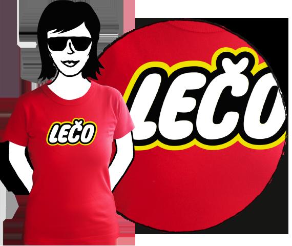 Červené bavlnené dámske tričko na leto s krátkymi rukávmi s nápisom Lečo pripomínajúce logo výrobcu hračiek Lego