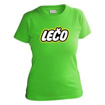 Veselé zelené tričko s krátkymi rukávmi pre dievčatá s nápisom Lečo napodobujúce logo výrobcu hračiek Lego z bavlny