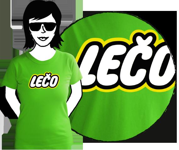 Zelené bavlnené dámske tričko s krátkymi rukávmi a nápisom Lečo pripomínajúce logo výrobcu hračiek Lego