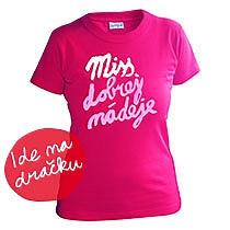 Elegantné dievčenské bavlnené ružové tričko s krátkymi rukávmi s bielo ružovým nápisom miss dobrej nádeje
