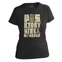 Veselé čierne tričko s krátkymi rukávmi pre dievčatá s nápisom pes, ktorý šteká nebreše z bavlny