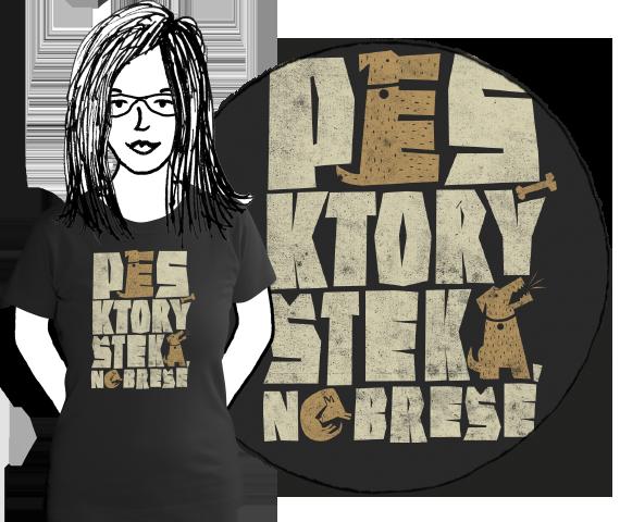 Čierne bavlnené dámske tričko s krátkymi rukávmi s nápisom pes, ktorý šteká nebreše