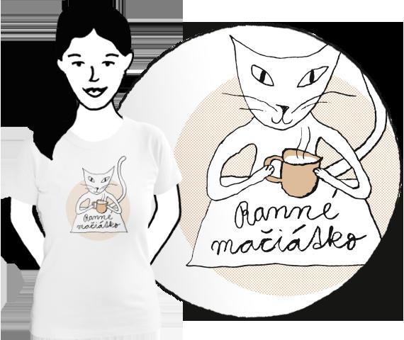 Biele dámske tričko s krátkymi rukávmi s potlačou mačky držiacej rannú šálku kávy a nápisom ranné mačiatko z bavlny