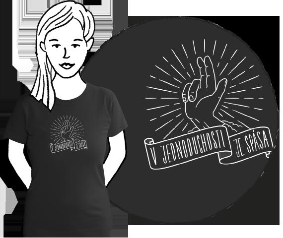 Čierne dámske tričko z bavlny s krátkymi rukávmi a potlačou požehnávajúcej ruky a nápisom v jednoduchosti je spása.
