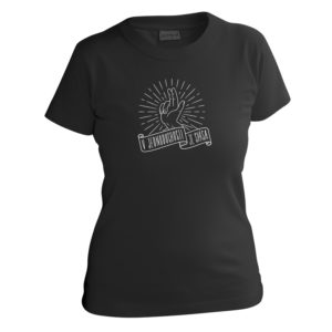 Bavlnené tričko pre dievčatá, čierne s krátkymi rukávmi s obrázkom ruky dávajúcej rozhrešenie a nápissom, že v jednoduchosti je spása.