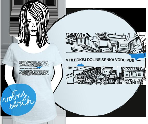 Svetlo sivé dámske tričko s krátkymi rukávmi s potlačou mrakodrapov z výšky medzi ktorými je široká ulica s nápisom V hlbokej doline srnka vodu pije