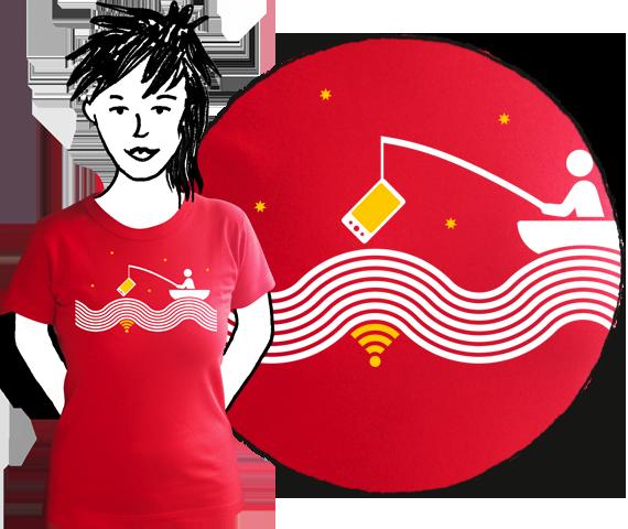 Červené bavlnené dámske tričko s krátkymi rukávmi s potlačou človeka na loďke chytajúceho wifi na vode pri hviezdach s udicou na ktorej má mobil