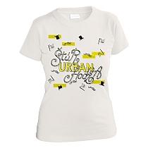 Bavlnené svetlo šedé tričko s krátkymi rukávmi pre dievčatá s ikonami štúrových fúzov, vlajkami a klobúkami a nápisom Štúr, Urban, Hodža