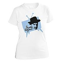 Veselé biele tričko s krátkymi rukávmi pre dievčata s bledo modrou potlačou televízie s čiernym obrazom Jozefa Kronera a nápisom Swag Ragan z bavlny
