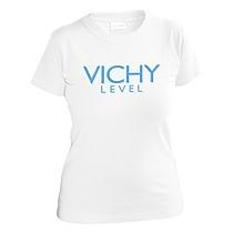 Bavlnené tričko biele s krátkymi rukávmi pre dievčatá s bledo modrým nápisom Vichy Level napododujúce značku kozmetiky Vichy