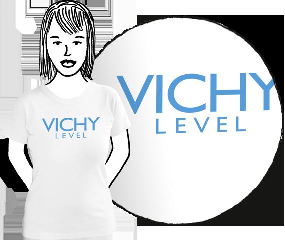 Biele dámske tričko s krátkymi rukávmi s bledo modrým nápisom Vichy Level podľa kozmetickej značky Vichy z bavlny