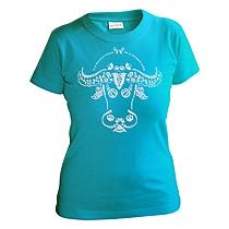Bavlnené tričko s krátkymi rukávmi pre dievčatá s folklórnym motívom hlavy vola
