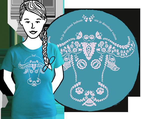 Tyrkysové dámske tričko s krátkymi rukávmi s bielym ľudovým motívom hlavy vola z bavlny