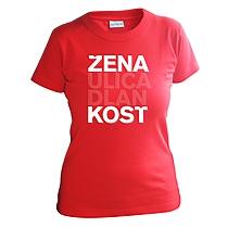 Bavlnené tričko červené s krátkymi rukávmi pre dievčatá s bielym nápisom žena, ulica, dlaň, kosť, vzory podľa ženského rodu