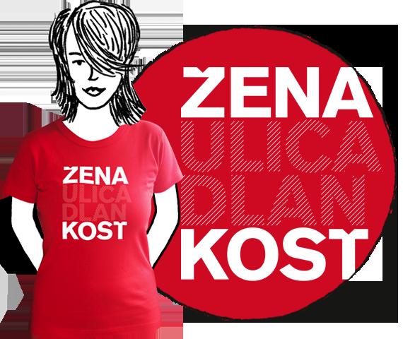 Červené elegantné dámske tričko s krátkymi rukávmi a nápisom žena, ulica, dlaň, kosť, vzory podľa ženského rodu z bavlny