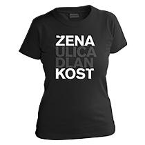 Čierne elegantné dievčenské tričko s krátkymi rukávmi s bielym nápisom žena, ulica, dlaň, kosť, vzory podľa ženského rodu