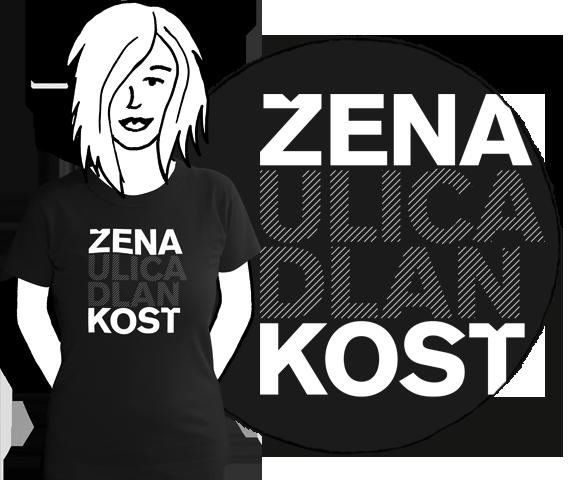 Čierne bavlnené dámske tričko s krátkymi rukávmi s bielym nápisom žena, ulica, dlaň, kosť, vzory podľa ženského rodu