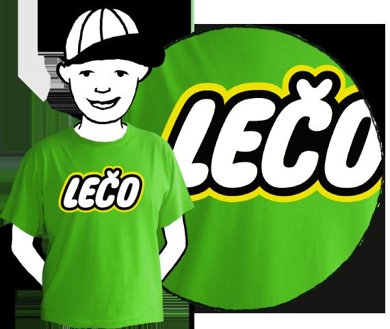 Detské zelené bavlnené tričko s krátkymi rukávmi s nápisom Lečo pripomínajúce logo výrobcu hračiek Lego