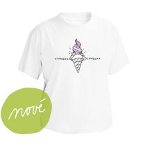 Veselé biele tričko s krátkymi rukávmi pre deti s obrázkom ružovej zmrzliny a nápisom vytočená zmrzlina