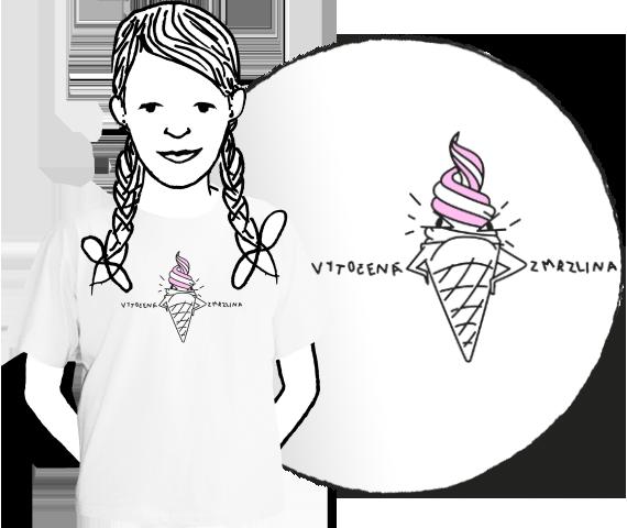 Biele detské bavlnené tričko s krátkymi rukávmi s veselou potlačou ružovej točenej zmrzliny a nápisom vytočená zmrzlina