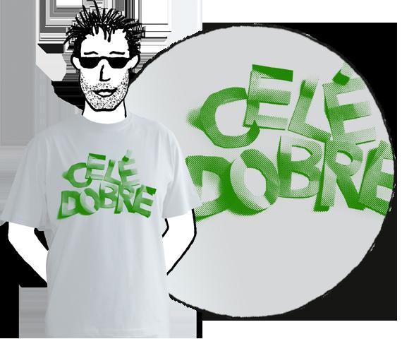 Svetlo sivé pánske tričko s krátkymi rukávmi so zeleným nápisom Celé dobre z bavlny
