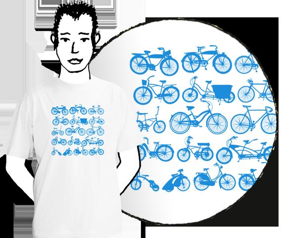 Biele pánske tričko s krátkymi rukávmi s bledo modrou potlačou dvanástich druhov bicyklov zoradených v štyroch riadkoch po 3 bicykle z bavlny
