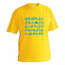 Veselé bavlnené tričko biele pre chlapcov s krátkymi rukávmi s bledo modrou potlačou bicyklov zoradených v štyroch radoch po 3 rôzne bicykle