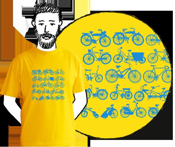 Žlté mužské tričko s krátkymi rukávmi s bledo modrou potlačou dvanástich druhov bicyklov zoradených v štyroch riadkoch po 3 bicykle z bavlny