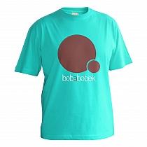 Veselé chlapčenské bavlnené tričko s krátkymi rukávmi s nápisom bob a bobek podľa rozprávky o zajacoch nad ktorým je potlač s väčším a menším kruhom
