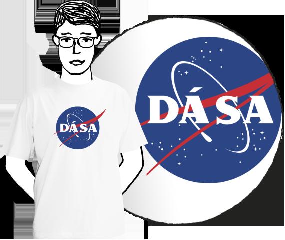 Biele pánske bavlnéne tričko s krátkymi rukávmi pre každého fanúšika vesmírnych letov s potlačou modrého loga NASA v ktorom je napísané Dá Sa