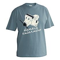 Vtipné chlapčenské bavlnené sivo modré tričko s krátkymi rukávmi a potlačou so zverákom pod ktorým je nápis domáce zvieratko