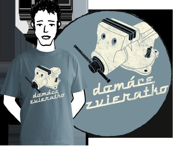 Sivo modré pánkse tričko s krátkymi rukávmi s potlačou domáceho náradia zverák a nápisom domáce zvieratko z bavlny
