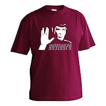 Veselé bordové tričko s krátkymi rukávmi pre mužov s potlačou Spocka zo Star Treku a nápisom dovi dopo z bavlny