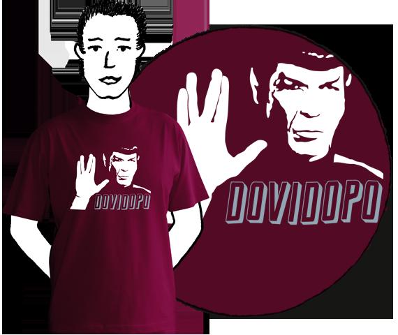 Bordové bavlnené tričko pre pánov s krátkymi rukávmi a potlačou Spocka z filmu Star Trek a nápisom dovi dopo