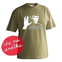 Vtipné chlapčenské khaki tričko s krátkymi rukávmi s potlačou Spocka zo Star Treku a nápisom dovi dopo z bavlny