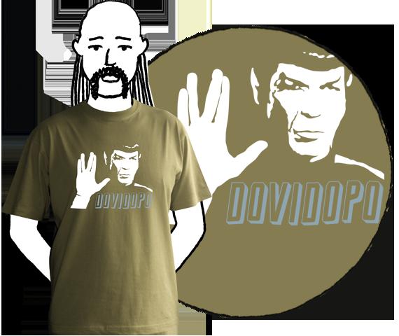 Kaki pánske bavlnené tričko s krátkymi rukávmi a potlačou Spocka z filmu Star Trek a nápisom dovi dopo