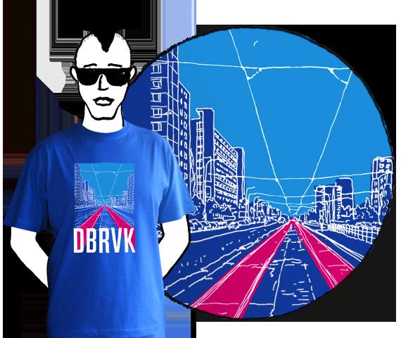 Modré pánske tričko s krátkymi rukávmi s potlačou ulice s električkovou traťou v bratislavskej Dúbravke a textom DBRVK z bavlny