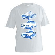 Chlapčenské bavlnené tričko s krátkymi rukávmi svetlo sivé s modrou potlačou troch áut škodovka, embečka