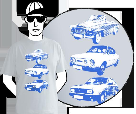 Svetlo sivé pánske tričko s krátkymi rukávmi a s modrou potlačou troch typov áut embečiek, škodoviek z bavlny